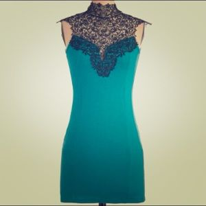 Teal Fitted Dress with Lace Collar